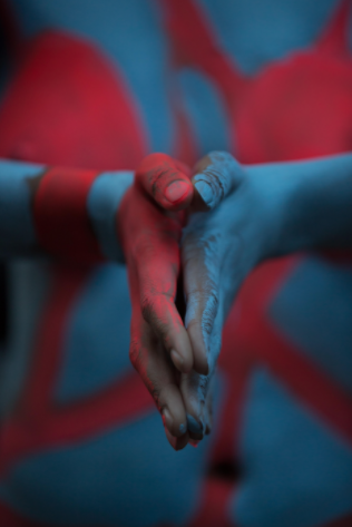 red blue hands imagine world of love