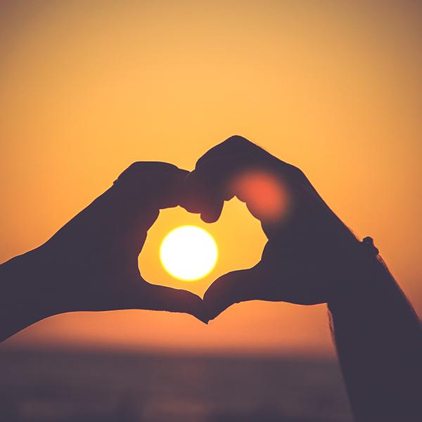 self love retreat - heart sunset