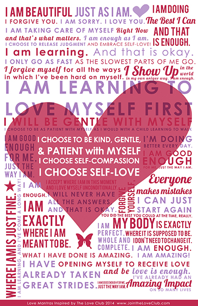 self compassion love mantra poster | Path of Self Love School